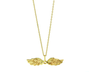 Yellow gold necklace with an angel wings charm
