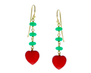 Yellow gold earrings with chrysoprase and coral hearts
