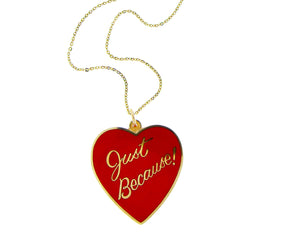 Yellow gold necklace with a red enamel heart pendant