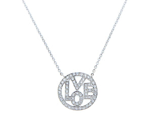 White gold necklace with a diamond LOVE pendant