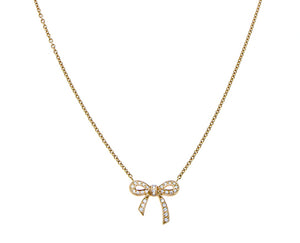 Rose gold necklace with diamond bow