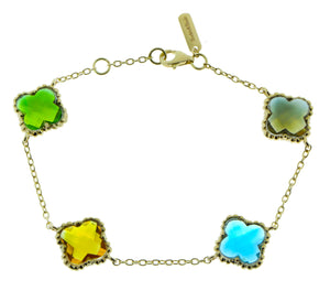Yellow gold bracelet with a variety of different quartz clovers