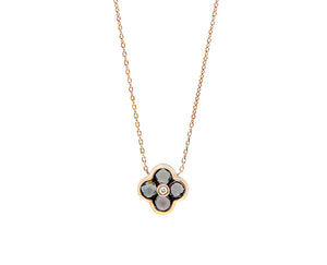 Rose gold necklace with alhambra pendant set with smokey quartz and a diamond