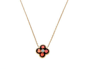 Rose gold necklace with garnet alhambra
