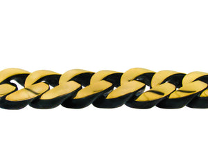 Ebony and yellow gold gourmette link bracelet