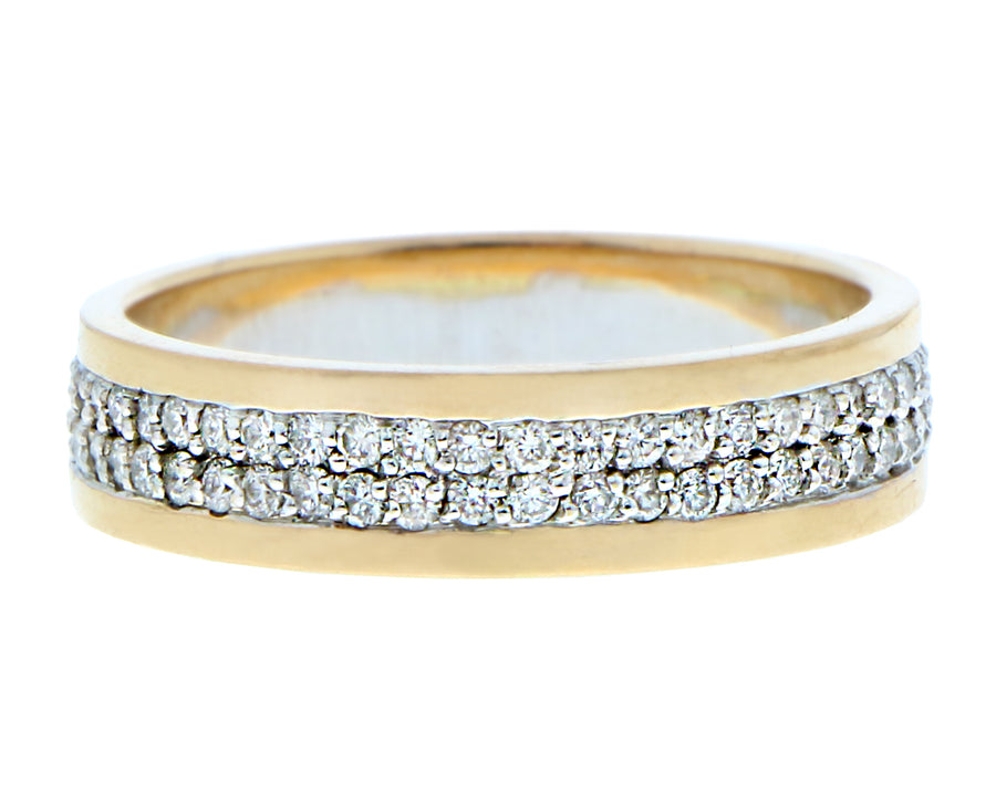 Yellow gold and white gold ring with diamonds
