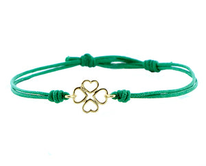 Clover of hearts rope bracelet