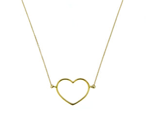 Yellow gold necklace with an open heart pendant
