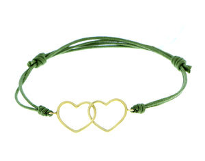 Bracelet with yellow gold hearts