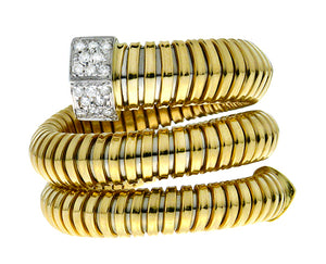 Yellow gold tubogas ring with diamonds