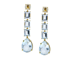 Yellow gold earrings white topaz