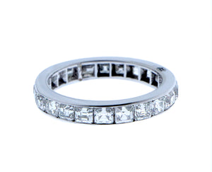 White gold alliance ring with square cut diamonds