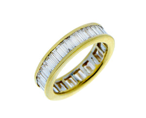 Yellow gold eternity ring with diamonds