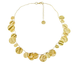 Yellow gold necklace with 22 coins in different sizes