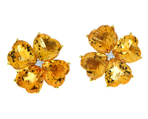 Yellow gold earrings citrine and diamond flowers