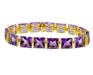 Yellow gold bracelet with square cut amethysts