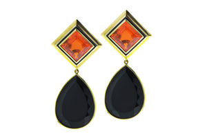Yellow gold earrings with fire opal