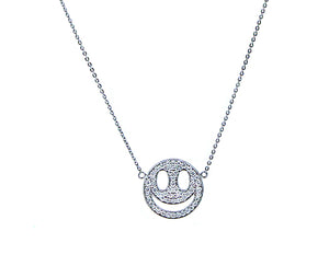 White gold necklace with a smiley pave set with diamonds