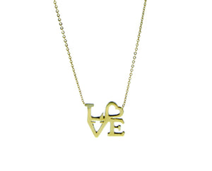 Yellow gold necklace LOVE