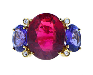 Rubellite and tanzanite ring
