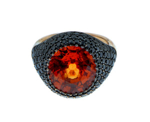 Spessartite garnet ring with black diamonds
