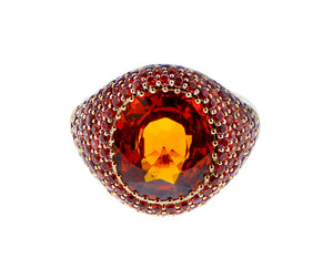 Spessartite garnet ring with orange sapphires