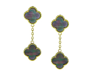 Yellow gold with mother of pearl alhambra earrings