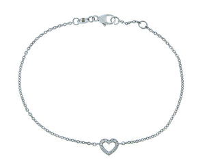 White gold bracelet with a diamond heart