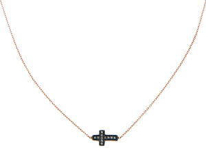 Rose gold necklace with an iconic brown diamond cross