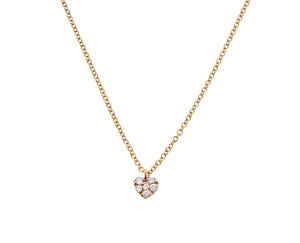 Rose gold necklace with a small diamond heart pendant