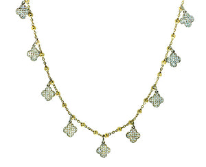 Yellow gold necklace with 7 alhambra pendants, pave set with diamonds
