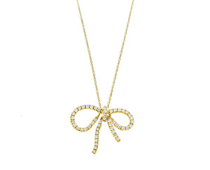 Yellow gold and diamond bow tie necklace