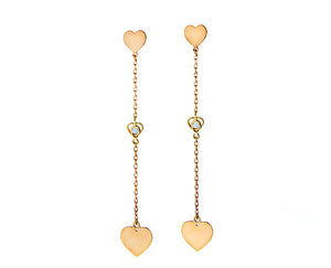 Rose/yellow gold earrings heart-diamond-heart