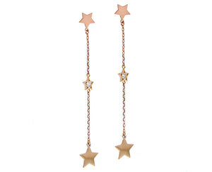 Rose/yellow gold earrings star-diamond-star