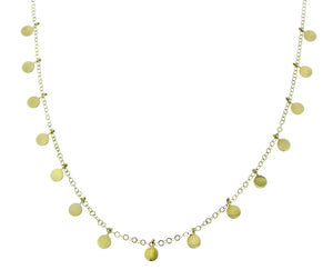 Yellow gold necklace with 15 coins