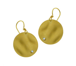 Yellow gold earrings with two diamonds