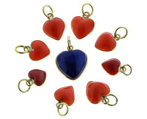 Coral and lapis lazuli heart pendants
