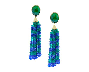 Yellow gold earrings, tsavorite and tanzanite