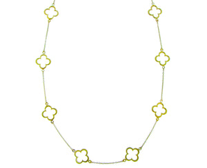 Yellow gold necklace with open clovers