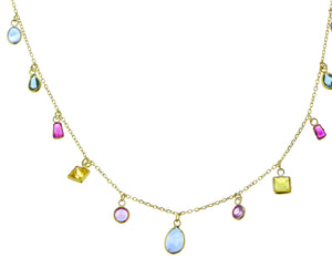 Yellow gold necklace with multi-color sapphires