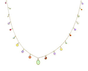 Yellow gold necklace with amethysts, garnets, peridots and citrines