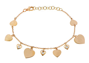 Rose gold bracelet with hearts and diamonds