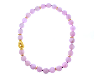 Necklace with kunzite beads