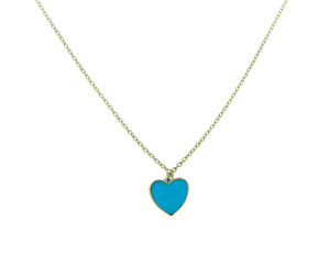 Yellow gold necklace with an enamel heart