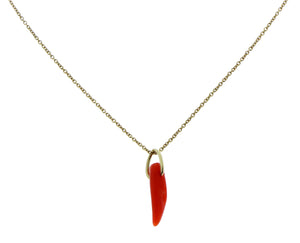 Yellow gold necklace with a coral pendant