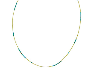 Yellow gold necklace with turquoise or lapis lazuli
