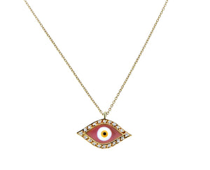 Yellow gold necklace with a diamond and pink enamel eye