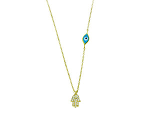 Yellow gold necklace with a diamond hamsa pendant and an evil eye