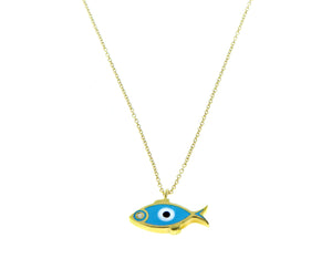 Yellow gold necklace with a fish pendant