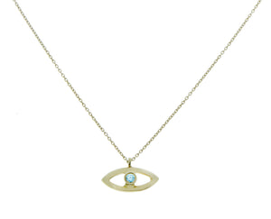Yellow gold necklace with an diamond eye pendant